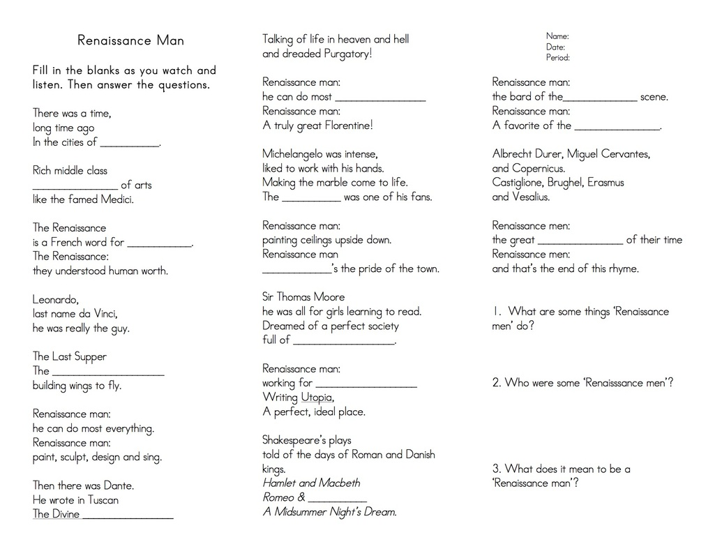 RenaissanceReformation Ms Landrys RoomHBSS – Renaissance Worksheet